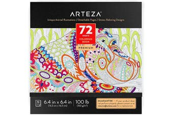 Arteza Colouring Book for Adults, Animal Illustrations, 72 Sheets, 45kg, 16cm x 16cm , for Anxiety, Stress Relief & Relaxing, Detachable Pages