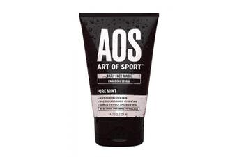Art of Sport Daily Face Wash, Charcoal Face Scrub, Exfoliating Face Wash for Men, Tea Tree Oil, Aloe Vera and Bamboo Extract, Pure Mint Scent, Paraben Free, 120ml