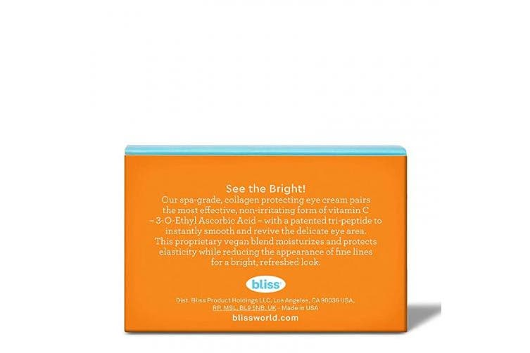 Bliss Bright Idea Vitamin C & Tri-Peptide Collagen Protecting Eye Cream, Brightens & Revives Eye Area, Cruelty-Free & Vegan, 15ml