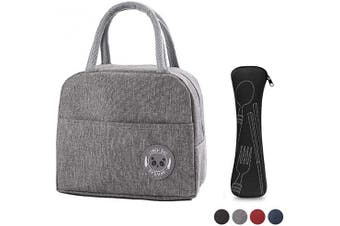 (Grey) - Insulated Lunch Bag for Women for Work, Lunch Box Bag Tote Handbag Reusable for Kids Girls Adults Ladies Men, Cooler Bag Waterproof with Panda Label for School Office Picnic Camping Fishing (Grey)