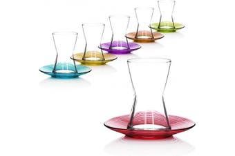 (Design Derin, 12x 140ml coloured) - com-four® 12-piece tea glass set, Turkish tea glasses with saucers, original oriental Çay set in bright colours