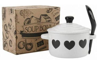 White Heart Soup Bowl and Spoon