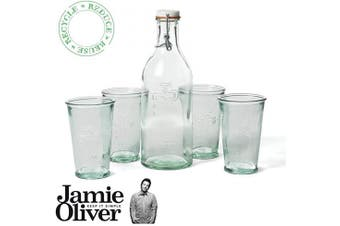 JAMIE OLIVER Water Carafe + 4 Water Glasses - Recycled Glass