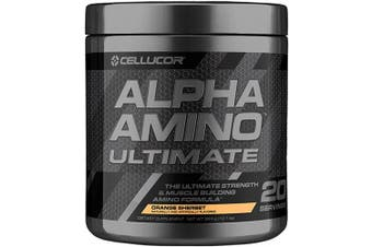 (Orange Sherbet) - Cellucor Alpha Amino Ultimate EAA & BCAA Recovery Powder + HMB, Essential & Branched Chain Amino Acids For Post Workout Hydration, Orange Sherbet, 20 Servings