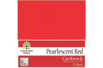 (30cm  x 30cm  - 20 Sheets, Red) - Pearl Shimmer Metallic Red Cardstock - 30cm x 30cm - 48kg Cover - 20 Sheets