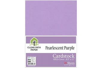 (22cm  x 28cm  - 20 Sheets, Purple) - Pearl Shimmer Metallic Purple Cardstock - 22cm x 28cm - 48kg Cover - 20 Sheets