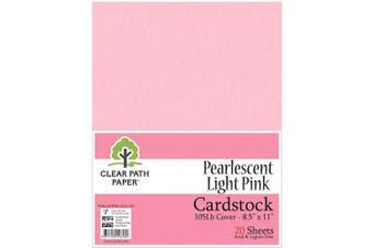 (22cm  x 28cm  - 20 Sheets, Light Pink) - Pearl Shimmer Metallic Light Pink Cardstock - 22cm x 28cm - 48kg Cover - 20 Sheets