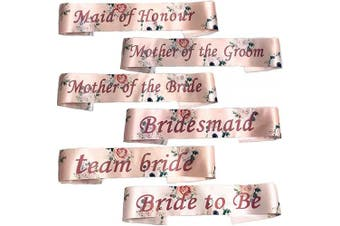 (Bride to Be (White)) - Blue Planet Fancy Dress Floral Pink Hen Party Team Bride Sashes with Rose Gold Text (Bride to Be (White))
