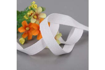 (1.9cm , White) - Abbaoww 50 Yard 1.9cm Cotton Twill Tape Ribbon, Soft Natural Webbing Tape Herringbone Bias Tape for Sewing DIY Craft, White