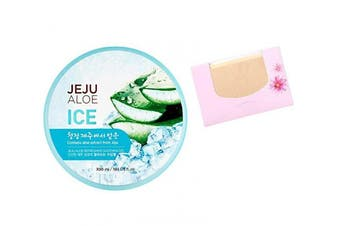 SoltreeBundle Korean Jeju Aloe Vera Ice Refreshing Soothing Moisturising Gel 300ml / 10.15oz with SoltreeBundle Oil blotting Paper 50pcs