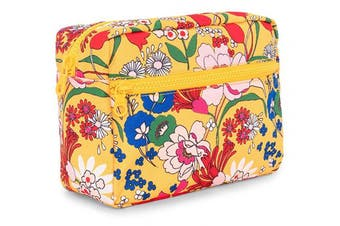 (Superbloom) - ban.do Women's Yellow Floral Nylon Travel Cosmetic/Makeup Bag with Zipper Storage Pockets, Superbloom