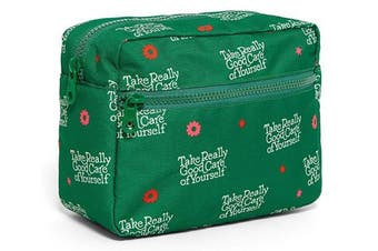 (Take Really Good Care) - ban.do Women's Nylon Travel Cosmetic Bag with Zipper Storage Pockets, Take Really Good Care