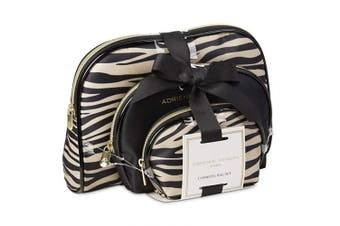 (Black & Zebra) - Adrienne Vittadini Cosmetic Makeup Bags: Compact Travel Toiletry Bag Set in Small, Medium and Large for Women and Girls - Zebra Stripes