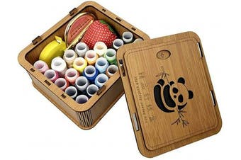 (Bamboo sewing box) - Premium Wooden Sewing Kits Sewing Box Organiser, Bamboo Wooden Sewing Basket with Sew Accessories- Needles/Thread/Scissors/Notions Tools, Perfect Sewing Gift Boxes for Women Adults Girls Beginners