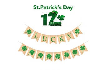AMENON St. Patrick's Day Decorations Lucky Banner Irish Banner Green Shamrocks Garland Lucky Flag for St Patrick's Indoor Outdoor Home Door Window Fireplace Party Decoration St Patricks Party Supplies