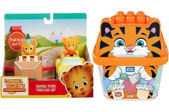Roaring Block & Car Fun Smiley Tiger Big Builders 25 pc Bucket Bundled with Daniel Tiger Exclusive Vehicle Rocket Vehicle 2 Items