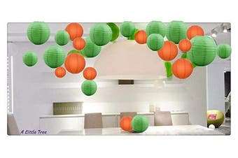 "(Green and Orange, 12(3 x 8"" + 3 x 10"" + 3 x 12"" + 3 x 14"")) - A Liittle Tree A Mixed Paper Lanterns Green Orange 12(3x8+3x10+3x12+3x14)"