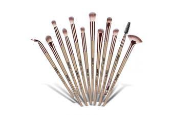 (Champagne) - MAANGE Eye Makeup Brush Set, 12pcs Pro Makeup Brushes Eyebrow Eyeshadow Eyeliner Blending Crease Kit, Detailer Shader Definer Eyelash Brush (Champagne)