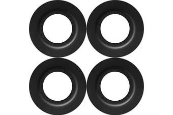 (Black, 4 Pieces) - Metal Lamp Shade Reducer Ring for ES/E27 to BC/B22 Plate Light Fitting Lampshade Washer Adaptor Converter (Black, 4 Pieces)
