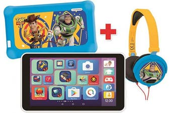 (Toy Story 4) - Lexibook MFC149ENX LexiTab Master Bundle Disney Toy Story 10cm - 18cm Kids Tablet with Learning apps Games Parental Controls-Woody Buzz Pixar Protective Case Headphones Android Wi-Fi Google Play YouTube