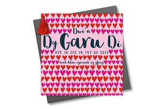 Welsh Language Tassel Embellished Valentines Greeting Card, I Love You, Rows of Hearts