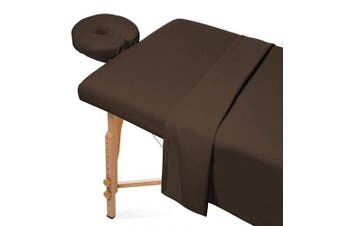 (Chocolate Brown) - Saloniture 3-Piece Flannel Massage Table Sheet Set - Soft Cotton Facial Bed Cover - Includes Flat and Fitted Sheets with Face Cradle Cover - Chocolate Brown