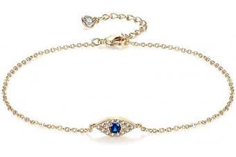 (Evil eye) - Women Dainty Anklet,14K Gold Plated Satellite Anklet Double Layered Cute Beads Chain Tassel Coin Disc Heart Summer Ankle Bracelet Boho Beach Foot Chain