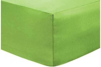 """(Green, Double) - Indus Textiles Easy Care Percale Extra Deep Fitted Sheets 16""""/40CM Green-Double"""