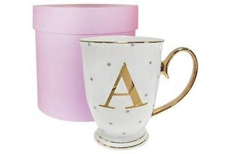 (White, Letter A) - Bombay Duck Alphabet Spotty Metallic Mug Letter A Gold with Lilac Spots, Bone China, White, 13x13x12 cm