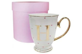 (White, Letter H) - Bombay Duck Alphabet Spotty Metallic Mug Letter H Gold with Fuchsia Spots, Porcelain, White, 13x13x12 cm