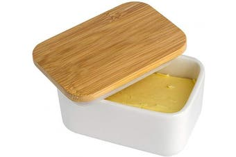 JulaJuyo Butter Dish with Lid, White Porcelain Butter Dish with Bamboo Lid, Butter Keeper Butter Container Butter Dish with Cover, Heat Resistant Kitchen Organisation Storage (300ml)