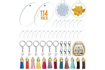 30 Pieces Acrylic Transparent Circle Discs, 5.1cm Diameter Round Acrylic Clear Keychain Blanks 114Pcs Keychain Tassles Keychain Rings Set for DIY Projects and Crafts