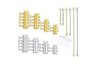 4 Sizes Slide Clasp Lock Necklace Connectors Multi Strands Tube Spacer Clasps and Necklace Bracelet Chain Extenders for Layered Jewellery(14pcs, Gold and Silver)