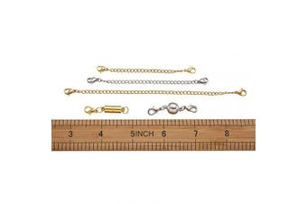 """(Magnetic Clasps Set) - Beadthoven 8pcs 2""""3""""4""""6"""" Stainless Steel Necklace Bracelet Extender End Chains with 4 Set Golden & Silver Plated Brass Magnetic Clasps Kit Set for Jewellery Making Findings"""