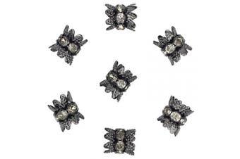 (8*9.5mm, Black Gun) - 30PCS 10mm Double Beads Caps with Rhinestone Filigree Flower Cup for Jewellery Making DIY (HT-1001-30BG)