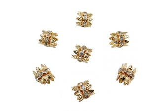COIRIS 30PCS 10mm Gold Double Beads Caps with Rhinestone Filigree Flower Cup for Jewellery Making DIY (HT-1000-3)