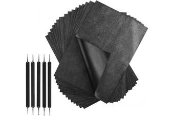 100 Sheets Carbon Paper, Black Transfer Tracing Paper Carbon Copy Paper Graphite Paper with 5 Pcs Embossing Stylus Dotting Tools for Woodworking Patterns, Paper, Canvas, Art Craft