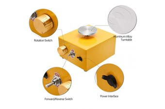 (Yellow) - with 2 Mini Turntable Pottery Wheel Machine, Electric Pottery Wheel Forming Machine DIY Clay Tool with Tray for Ceramic Work Ceramics Clay Art Craft(Golden)