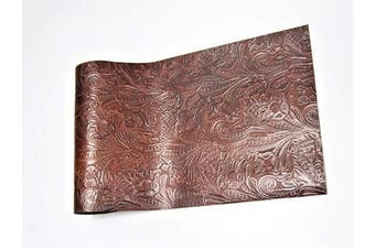 (12 x 12, Brown Floral) - Genuine Cow Hide Top Grain Leather Skins, Various Prints Thick & Firm, Straight Rectangular Pre Cut, by ABE LEATHER (Brown Floral, 12 x 12)