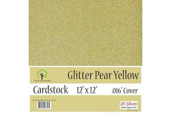 (30cm  x 30cm  - 20 Sheets, Pear Yellow) - Glitter Pear Yellow Cardstock - 30cm x 30cm - .41cm Thick - 20 Sheets