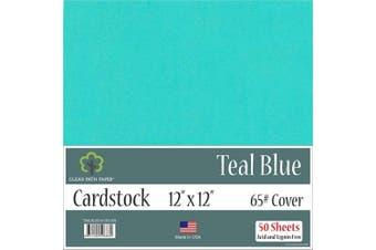 (Teal Blue) - Teal Blue Cardstock - 30cm x 30cm - 29kg Cover - 50 Sheets