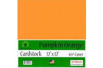 (Pumpkin Orange) - Pumpkin Orange Cardstock - 30cm x 30cm - 29kg Cover - 50 Sheets