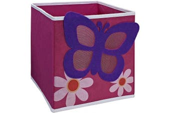 (Butterfly) - SystemBuild Children's Playroom Kids Toys Organising 28cm x 28cm Character Fabric Drawer/Storage Bin (Butterfly)