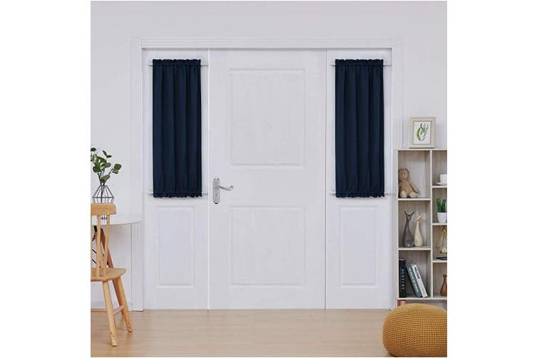 "(2 PANELS x W25"" x L40"", Navy Blue) - Deconovo Pair of Solid Thermal Insulated Curtains Blackout Rod Pocket Door Curtains Super Soft Energy Saving Curtains for Kitchen Navy Blue 60cm x 100cm"