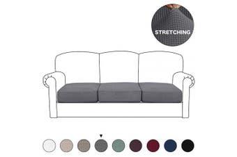 (3 Seater Cushion, Steel Grey) - BellaHills High Stretch Cushion Cover Sofa Cushion Furniture Protector for Loveseat Seat Sofa slipcover Sofa Cover with Elastic Bottom(3 Pieces Cushion Covers, Steel Grey)