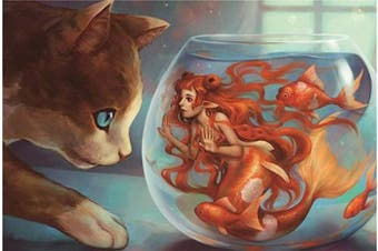 500 Pieces Puzzles for Adults Animals Jigsaw Puzzles Wooden Floor Puzzle Kids Toys Cat & Mermaid Puzzles for Creative Gift Home Decor