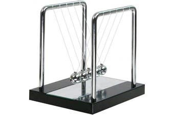 (Medium Mirror) - Mirror Newtons Cradle Balance Balls with Black Wooden Base Fun Science Physics Learning Toy Gadget Pendulum for Office Desk Toys and Home Decoration-Medium Mirror