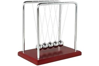 (Red Wooden) - Newtons Cradle Balance Balls with Red Wooden Base Fun Science Physics Learning Desk Toys Fun Gadget Pendulum for Office and Home Decoration-Red Wooden