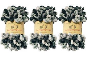 (Nemesis) - BambooMN Finger Knitting Yarn - Fun Finger Loops Yarn - 100% Polyester - Nemesis - 3 Skeins