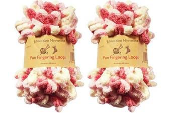 (2 Skeins, Athena) - BambooMN Finger Knitting Yarn - Fun Finger Loops Yarn - 100% Polyester - Athena - 2 Skeins